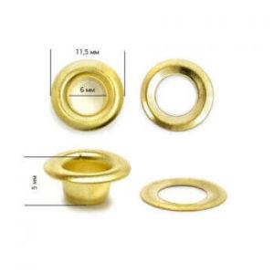 Люверсы №4 (6мм) золото (уп-5000шт)